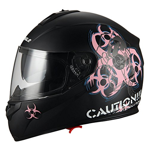 """Biohazard"" Full Face Matte Pink Dual Visor Street Bike Motorcycle Helmet by Triangle [DOT] (Medium)"