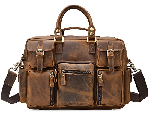 ALTOSY Men Vintage Genuine Leather Briefcase Laptop Messenger Shoulder Travel Bag 8058 (light brown) (Light Brown Leather Briefcase)