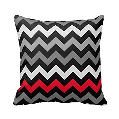 andersonfgytyh Black & White Chevron With Red Stripe Throw Pillow Personalized 18x18 Inch Square Cotton Throw Pillow Case Decor Cushion Covers