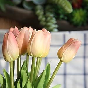 COOBL Artificial silk flower High grade decorative tulip flower wedding bouquet bride holding garlands vine DIY Floral art plant bride Home Decor(20pcs) (champagne) 4