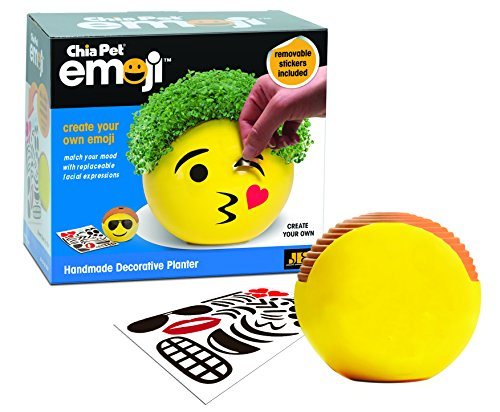 Chia Pet Emoji with Seed Pack, Decorative Pottery Planter, Easy to Do and Fun to Grow, Novelty Gift, Perfect for Any Occasion ()