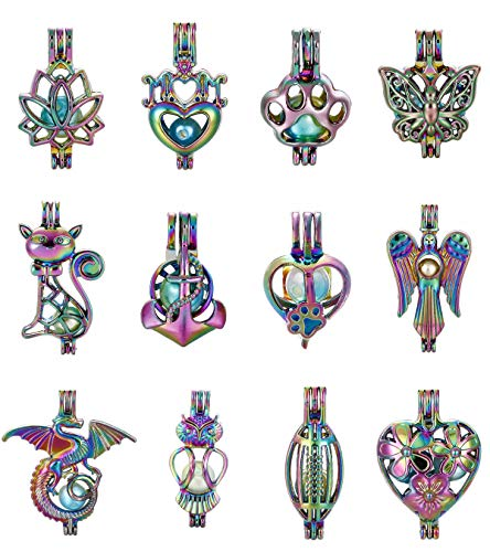 Mixed 12pcs Colored Lotus Angel Anchor Dragon Owl Mom Heart Pearl Beads Cage Locket Pendant Aroma Essential Oil Diffuser Locket DIY Necklace Earrings Bracelet Jewelry Making Supplies (Colored Mixed-2) ()