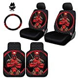 8 piece car seat covers - New Design 8 Pieces Marvel Comic Deadpool Car Seat Covers Floor Mats and Steering Wheel Cover Set with Air Freshener