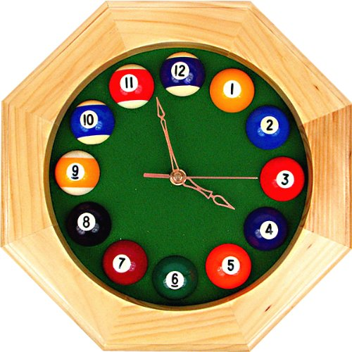 Wood Pool Clock (Trademark Octagonal Wood Billiards Quartz Wall Clock)