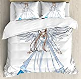 Anime Duvet Cover Set by Ambesonne, Cartoon Illustration of Cute Angel Wings and Flowers Fairytale Japanese Manga Print, 3 Piece Bedding Set with Pillow Shams, King Size, White Blue