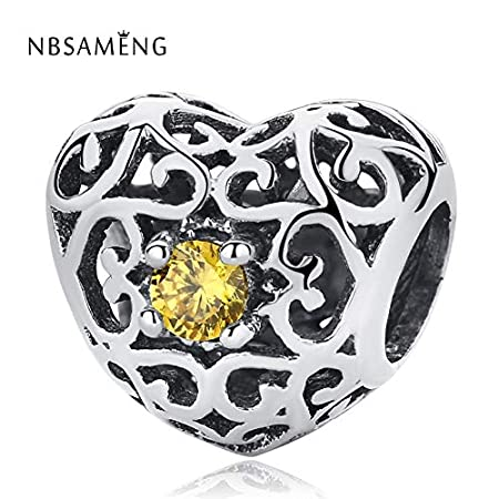 Calvas Authentic 925 Sterling Silver Bead 6 Color Charm Heart Crystal Beads Fit Bracelets /& Bangles Necklace DIY YW20032 Color: Red