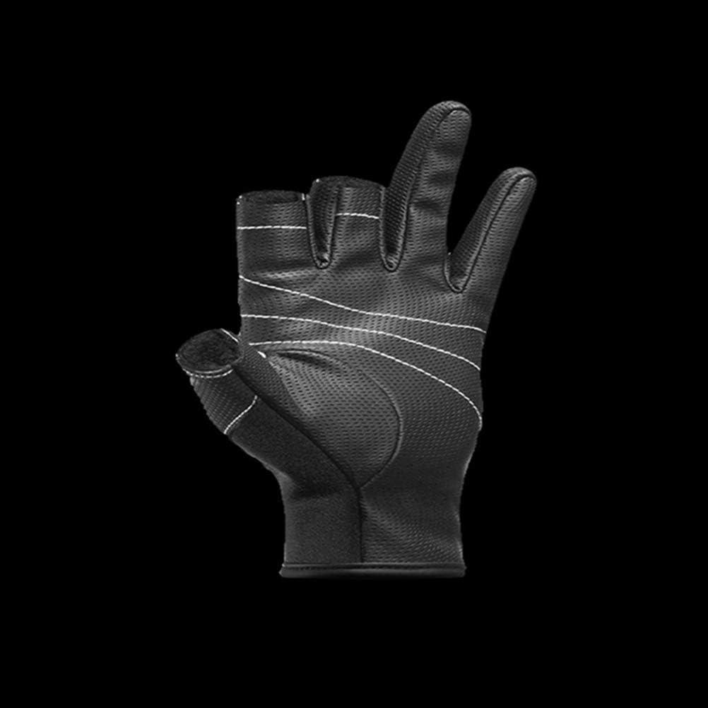 Negro, Talla M Guante Guante 1 par de Guantes de Pesca de Tres Dedos Expuestos al Aire Libre Guantes de Ciclismo Antideslizantes Herramienta de Pesca