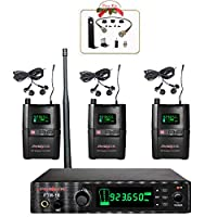 Phenyx Pro UHF Stereo Wireless in Ear Audio Monitor System, Selectable Frequency 900MHz Band, Rack Mountable, 160 ft. Operation, Ideal for Stage and Studio (PTM-10 Three Receivers)