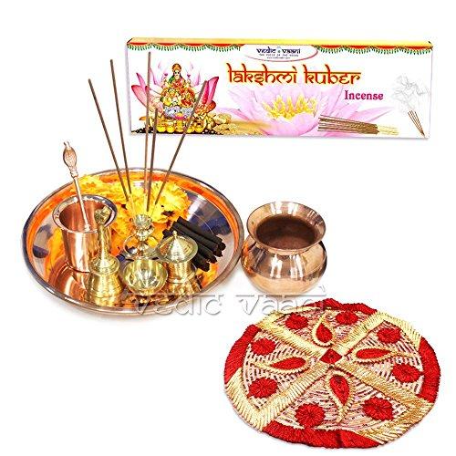 Vedic Vaani Puja Thali Set for Daily Use with Lakshmi Kuber Incense