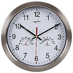 EPGM Silent Wall Clock - Metal Frame Temperature & Humidity Reader Dial Clock, 12 Clocks