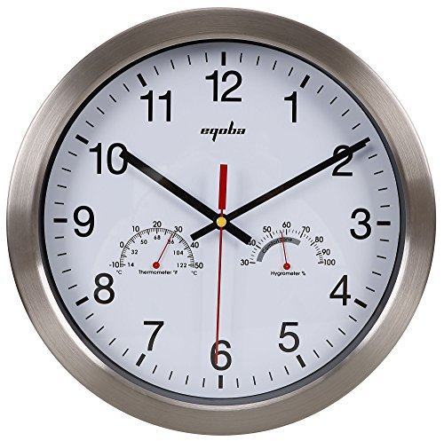 EPGM Silent Wall Clock - Metal Frame Temperature & Humidity Reader Dial Clock, 12