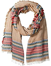 Women's Italian Collection Striped Scarf with Frayed Edges
