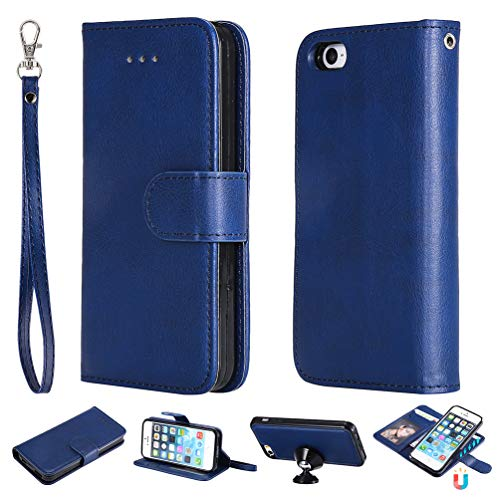 iPhone SE Case, iPhone SE Case, Pure Blue Kickstand Feature Stand Wallet Purse Credit Card Holders Design Flip Folio PU Leather Soft TPU Inner Bumper Ultra Slim Fit Cover for iPhone SE 5 5S