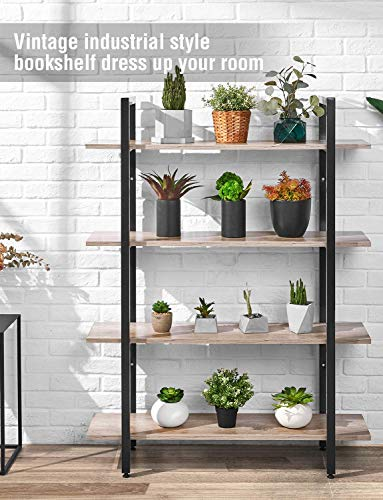 ORAF 4 Tier Bookshelf Industrial Style Bookcase, Vintage Multipurpose Shelf and Open Wide Modern Home Office Storage Cabinet, Retro Brown