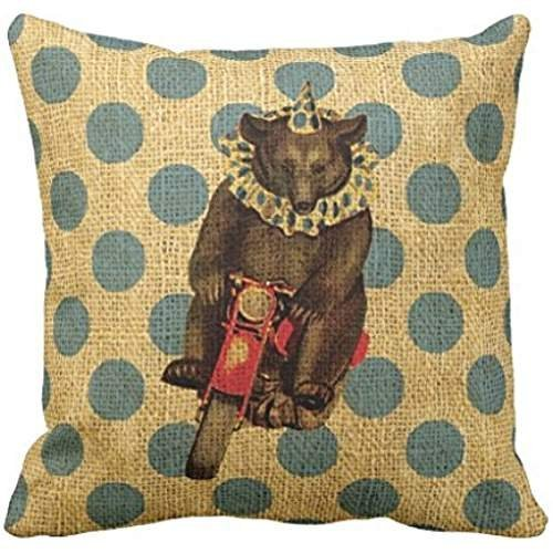 - Vintage Circus Bear on Motorcycle with Polka Dots Pillow case 1616