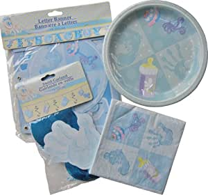 Amazon.com: Pale Blue Boys Baby Shower Party Package ~ For