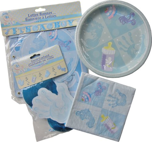 Blue Garland Dinner Plate - Pale Blue Boys Baby Shower Party Package ~ For Larger Parties ~ Dinner Plates, Luncheon Napkins, Letter Banner, & Swirl Garland Decoration ~ Serves 18