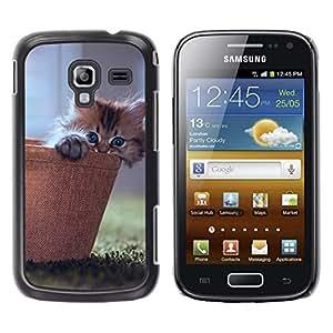 LECELL--Funda protectora / Cubierta / Piel For Samsung Galaxy Ace 2 -- LINDO GATITO CAT CESTA --