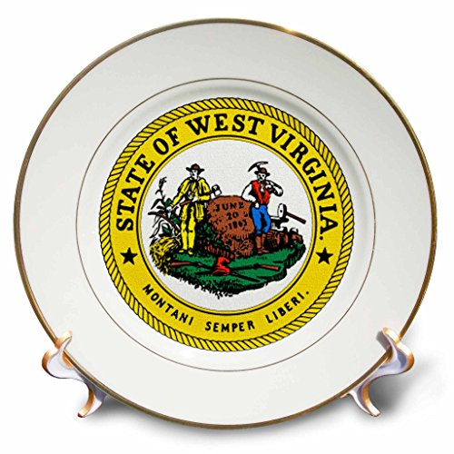 3dRose cp_55357_1 State Seal of West Virginia PD-US Porcelain Plate, - Seal Virginia