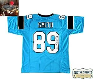 Steve Smith Sr Autographed/Signed Carolina Panthers Custom Blue Jersey
