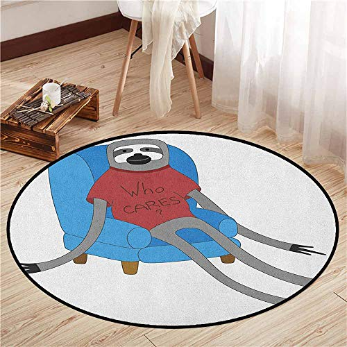 Living Room Round Rugs,Sloth,Urban Sloth T Shirt with Inscription Who Cares Procrastination Laziness Idleness,Super Absorbs Mud,3'7