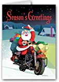 Santa Rides a Motorcycle Christmas Card - 18 Cards & Envelopes