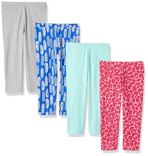 Amazon Brand - Spotted Zebra Girls' Big Kid 4-Pack Capri Leggings, Feathers, Medium (8)]()