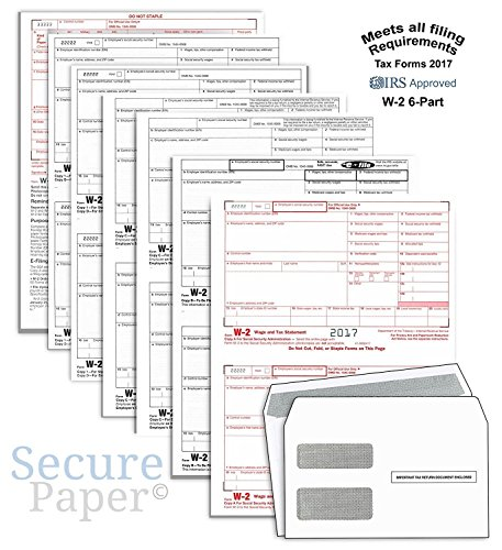 Forms W2 Order (Complete Laser W-2 Tax Forms And W-3 Transmittal - Kit For 25 Employees ~6-Part~ All W-2 Forms with Self-Seal Envelopes in Value Pack | W-2 Forms 2017)