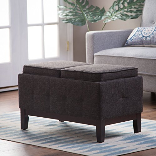Storage Bench Ottoman - Tray Table Home Furniture Entryway Living Room Bedroom Indoor Flip Lids Tufted Sides Space Saver