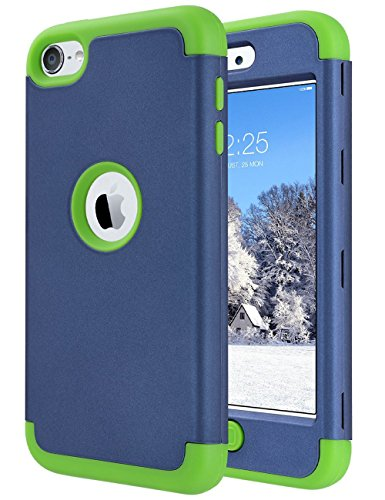 ULAK iPod Touch Case 6th Generation, iPod Touch 7 Case, iPod 5 Case, Heavy Duty High Impact Knox Armor Case Cover Protective Case for Apple iPod Touch 5 6th 7th Generation 2019 (Navy Blue+Green) (Ipod Touch Covers For Kids)