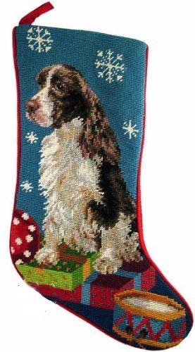 English Springer Spaniel Liver White Dog Needlepoint Christmas Stocking