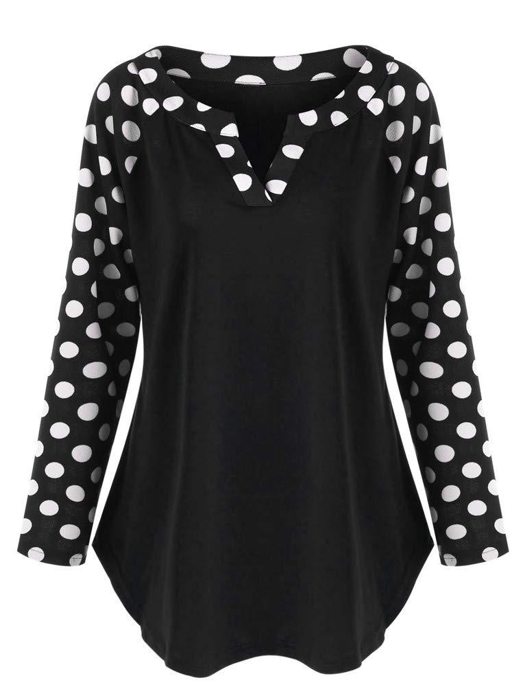 Fenxxxl Women's Plus Size Long Sleeve Polka Dot Lightweight Work Blouses for Office Work F85 Black 2XL