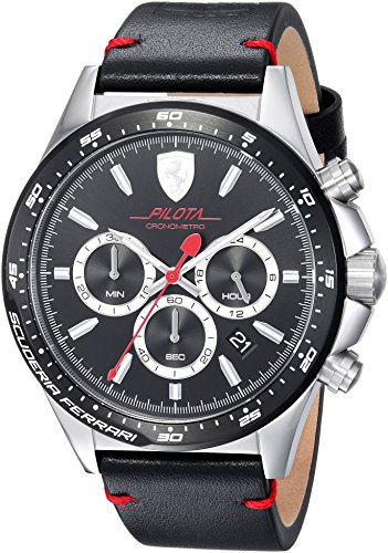 Scuderia Ferrari Men's 'PILOTA' Quartz Stainless Steel and Leather Casual Watch, Color:Black (Model: 0830389)