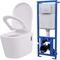 vidaXL Inodoro Colgante Pared Cisterna Oculta Cerámica Blanco