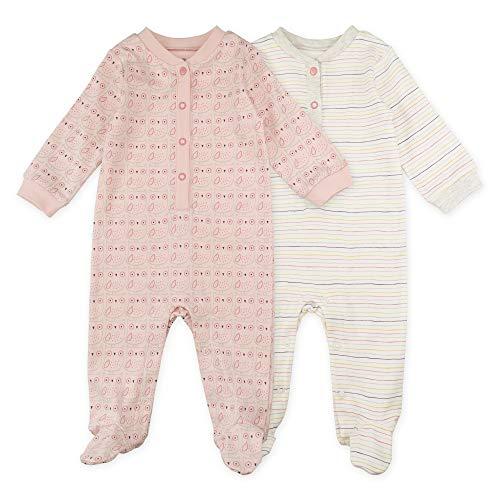 Baby Girl Sleeper Set, 2-Pack Owl Print Footed Sleep and Play Pajamas, 6 Month White, Light -