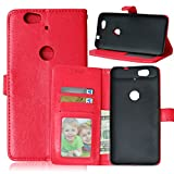 """Huawei Nexus 6P Case, Luxury 3 Credit Card Slots Flip PU Leather Case [Wallet Case] Magnetic Closure With Stand Shell Folio Protection Perfect Fit Cover For Google Huawei Nexus 6P 5.7"""" Red"""