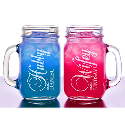 Stocking Factory Custom Engraved Hubby and Wifey Personalized Mason Jars Drinking Mugs with Handle, 16-Ounce, Set of 2, Clear Glass