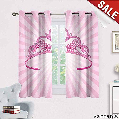 LQQBSTORAGE Kids,Blackout Window Curtain Tropical,Beautiful Pink Fairy Princess Costume Print Crown with Diamond Image Art,Curtains for Doors with Windows,