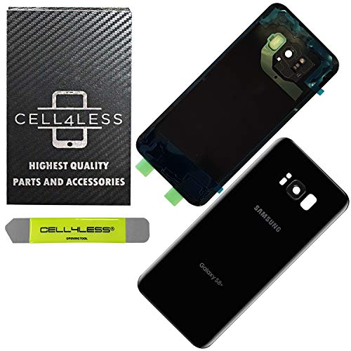 CELL4LESS Replacement Back Glass Cover Back Door w/Installed Camera Lens and Frame, Custom Removal Tool & Adhesive for Samsung Galaxy S8+ Plus OEM - All Models G955 (Black)