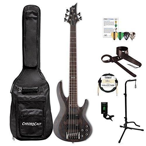 ESP LB205SMSTBLKS-KIT-1 B Series B-205SM 5-String Electric Bass Guitar, See Thru Black Satin by ESP