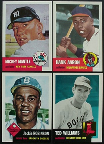 - 1991 Topps Archives 1953 Reprint Complete 330 Card Set. Loaded with Stars and Hall of Famers Including Mickey Mantle, Jackie Robinson, Roy Campanella, Eddie Mathews, Pee Wee Reese, Yogi Berra, Phil Rizzuto, Satchel Paige, Willie Mays, Hank Aaron, Ted Williams, Casey Stengel and More!