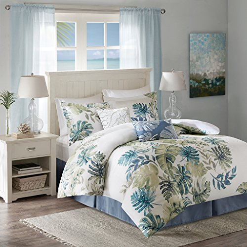 (Harbor House Lorelai Queen Size Bed Comforter Set - White, Green, Blue, Tropical Plants, Leaf - 6 Pieces Bedding Sets - 100% Cotton Sateen, Cotton Percale Bedroom)