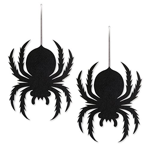 DII Indoor and Outdoor Foam Halloween Hanging Door Decorations and Wall Signs,  For Home, School, Office, Party Decorations, Set of 2 - Spiders ()