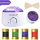 Hair Removal Wax Warmer Kit - Wax Warmer, Hair Removal Waxing Kit Electric Hot Wax Heater Rapid Melt Hard Wax with 4 Hard Wax Beans and 10 Sticks for Home Waxing Spa for Face Bikini Legs Armpit for Women and Men [UPGRADED]