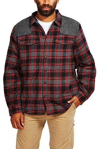 Tactical High Vis Reversible Jacket (Coleman Sherpa-Lined Flannel Shirt Jacket With Faux Suede Shoulder Patches (Medium, Grey Black Red))