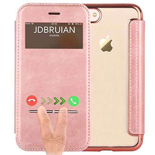 iPhone 7 Plus Case,7 Plus Flip Cover, JDBRUIAN [Touch Series][Folio Style]View Window...