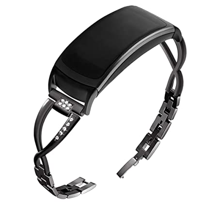 OenFoto Compatible with Gear Fit2 Pro/Fit2 Band, Replacement Alloy Metal Accessories Strap Samsung Gear Fit2 Pro SM-R365/Gear Fit2 SM-R360 ...