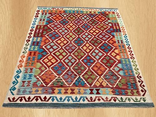 (Multi Color Hand Knotted Flat Weave Home Decor Oriental Afghan Veg Dyed Chobi Kilim Wool Area Geometric Rug 6'1