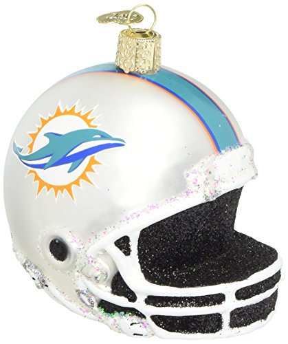 Old World Christmas Miami Dolphins Glass Blown Ornaments for Christmas Tree Helmet (Ornaments Dolphin Glass)
