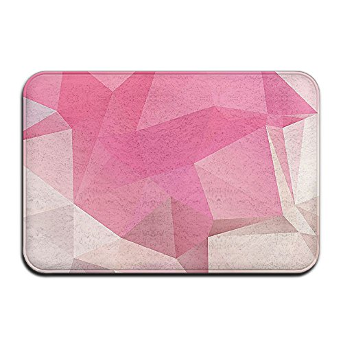 Bathroom Rug Mat Contour Rug Toilet Floor Rug Flannel Bath Shower Mat Pink 3D Geometic Square (3 Squares Kitchen Shower)